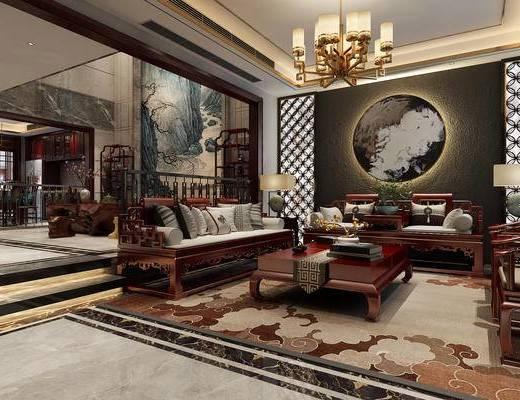 中庭, 吊灯, 沙发, 茶海, 博古架, 餐桌, 背景墙, 楼梯扶手