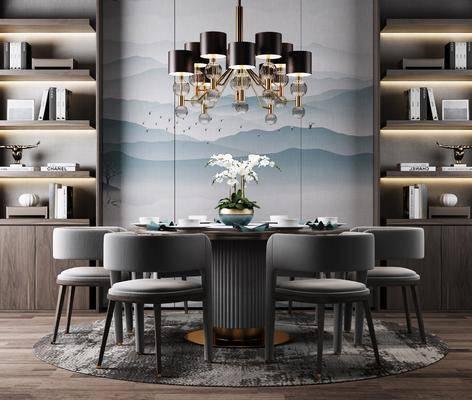 餐桌椅组合, 现代餐桌椅组合, 新中式餐桌椅组合, 现代, 新中式, 餐桌, 圆桌, 单椅, 椅子, 餐具, 置物柜, 书籍, 摆件, 吊灯