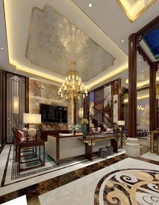 中式客厅, 中式别墅, 别墅, 客厅, 中式沙发, 吊灯, 中式背景