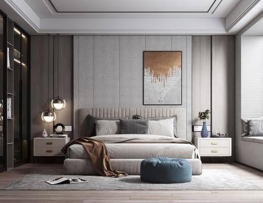 双人床, 装饰画, 吊灯, 衣柜, 床头柜