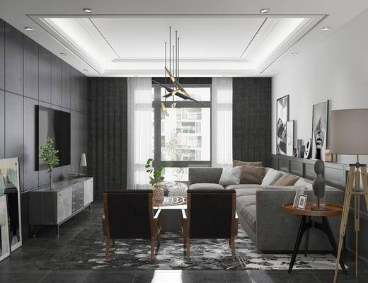现代客厅, 现代餐厅, 客餐厅, 沙发组合, 沙发茶几组合, 餐桌椅, 桌椅组合