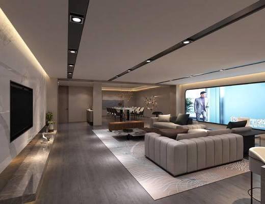 影音室, 沙发组合, 茶几, 单椅, 屏幕