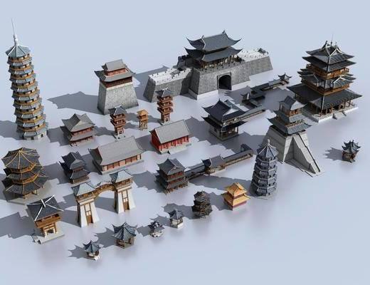 古建筑, 塔楼鸟瞰, 中式