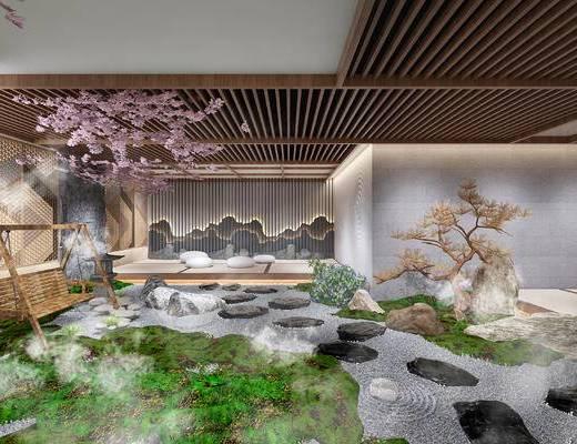 泡茶桌椅, 枯山水, 景观, 石头, 树枝, 景观小品