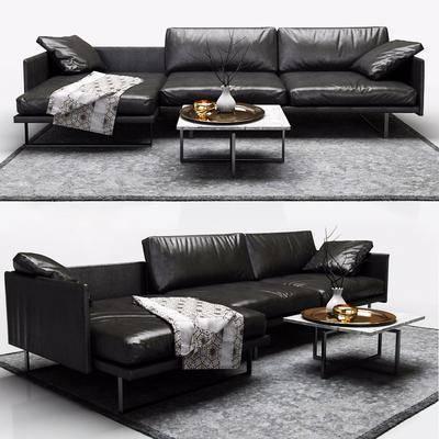 Cassina真皮三人沙皮, 沙发, 皮沙发, 转角沙发, 现代