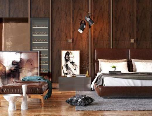 卧室, 双人床, 皮革床, 床头柜, 吊灯, 躺椅, 装饰画, 挂画, 摆件, 装饰品, 陈设品, 现代