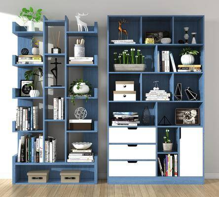 北欧, 书柜, 装饰柜, 摆件