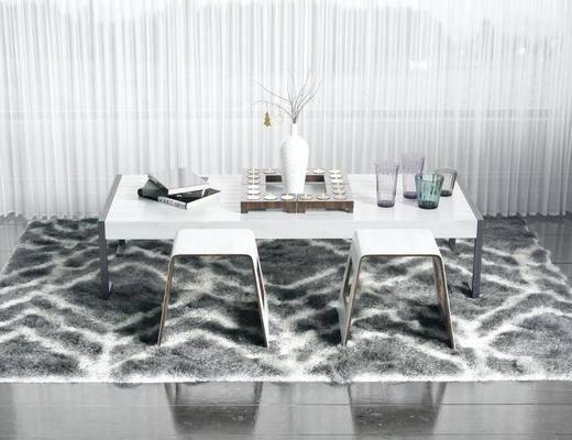 方形地毯, 桌子, 单人椅, 现代