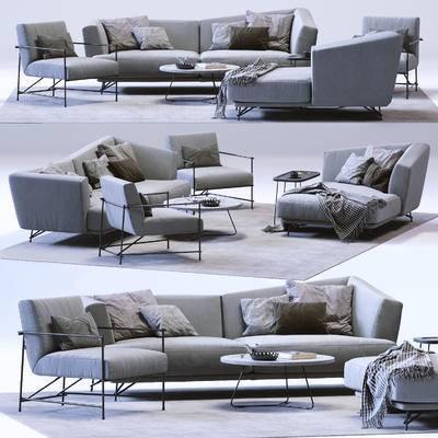 双人沙发, 单人沙发, 休闲椅, 贵妃椅, 茶几, 地毯, 现代双人沙发单人沙发休闲椅贵妃椅茶几地毯组合