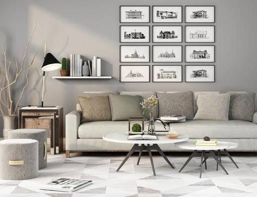 沙发, 茶几, 装饰画, 置物架, 多人沙发, 现代, 挂画, 陈设品, 台灯, 边几, 凳子