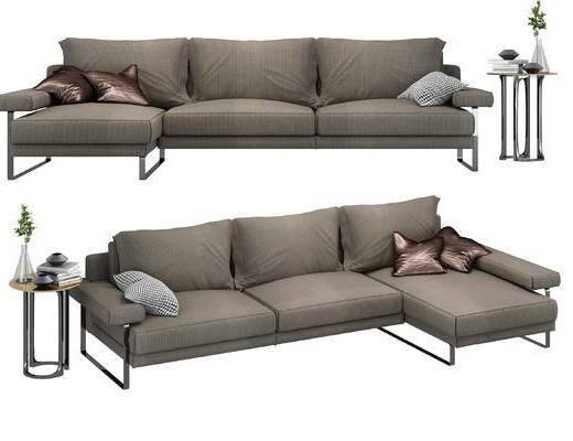 现代, 多人沙发, 沙发, 边几, 陈设品, 布艺沙发, 北欧