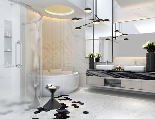 现代简约, 卫生间, 吊灯, 洗手台, 浴缸