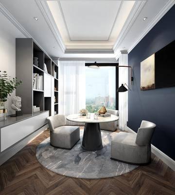 现代书房, 书房, 沙发茶几, 置物柜, 摆件, 挂画, 壁灯, 雕塑, 花瓶
