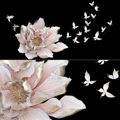 花卉, 蝴蝶, 墙饰, 墙装饰, 现代, 装饰花