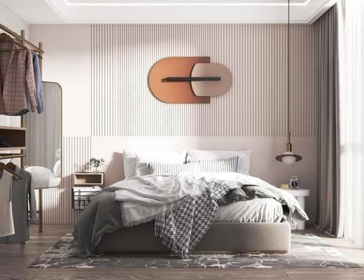 现代卧室, 双人床, 吊灯, 床头柜, 衣架