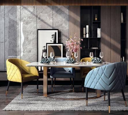 餐桌, 桌椅组合, 摆件组合, 花瓶
