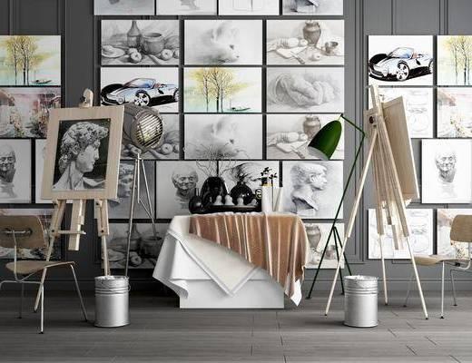 画架, 美术用品, 调节式画架, 绘画用具, 垃圾桶, 装饰画组合