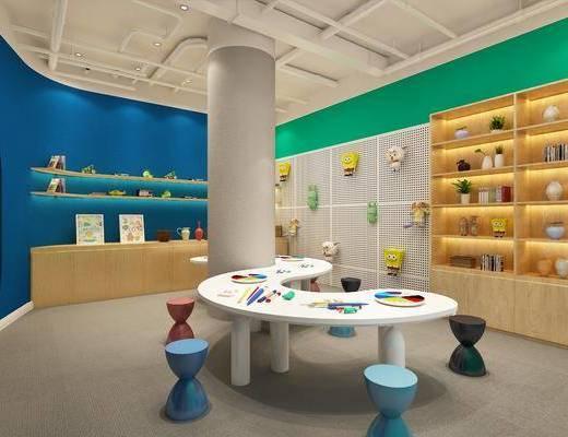 教室, 儿童美工, 桌子, 书桌, 单人椅, 凳子, 装饰柜, 边柜, 书柜, 书籍, 墙饰, 玩偶, 画笔, 铝扣板, 玩具, 摆件, 装饰品, 陈设品, 现代