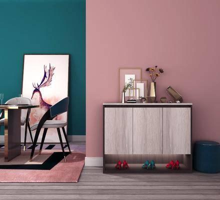 玄关鞋柜, 边柜组合, 摆件, 装饰品, 陈设品, 现代