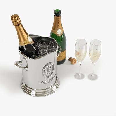 酒瓶, 酒杯, 酒水, 酒瓶酒杯组合, 现代
