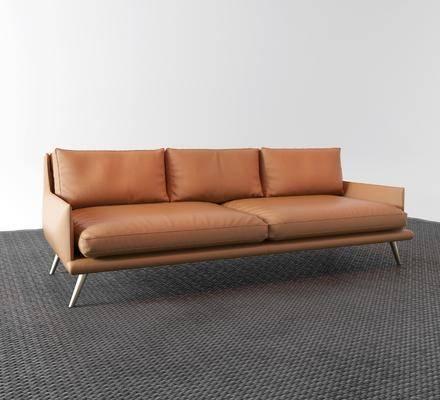 现代, 皮革, 沙发, 多人沙发, 3D模型