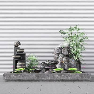 园艺小品, 新中式, 假山, 植物, 水池, 新中式园艺小品