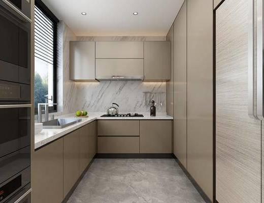 厨房, 橱柜, 洗手台, 现代
