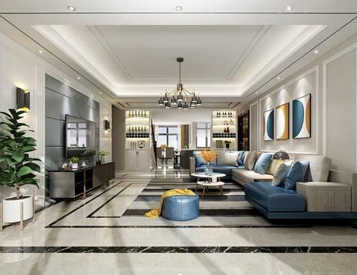 现代客厅, 现代转角沙发, 现代客餐厅, 电视柜, 沙发, 植物, 装饰画