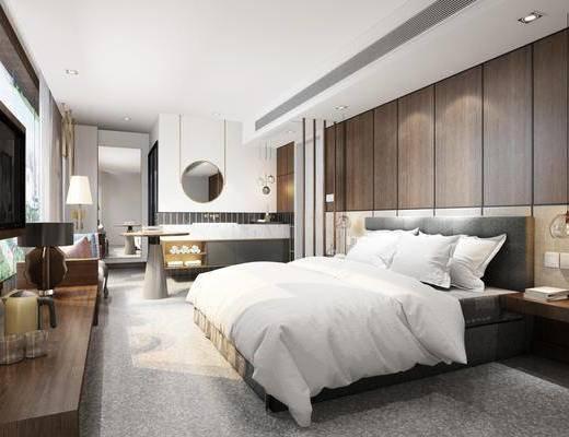 酒店, 酒店客房, 现代酒店, 床具组合, 床头柜, 摆件, 装饰品, 现代, 现代客房