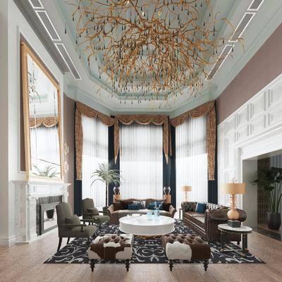 沙发组合, 茶几, 吊灯, 边几, 窗帘, 单椅