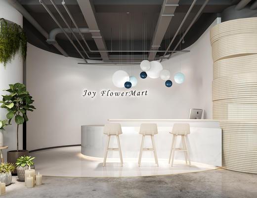 现代, 花店, 植物, 盆栽, 店铺, 凳子
