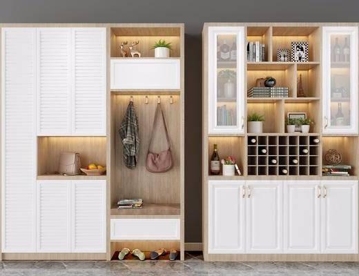 鞋柜酒柜, 酒柜组合, 装饰柜, 酒瓶, 摆件, 装饰品, 陈设品, 北欧
