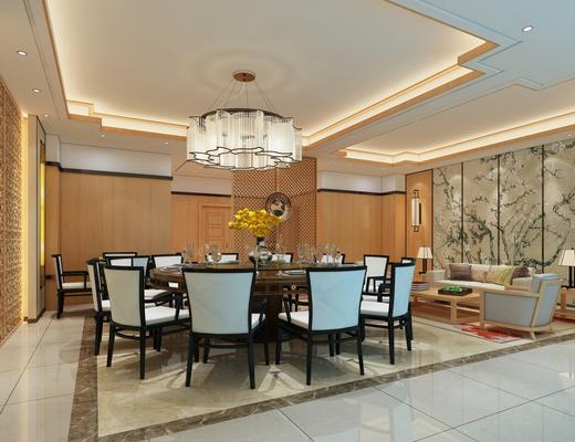 中式, 包厢, 新中式, 水晶吊顶, 桌椅, 沙发