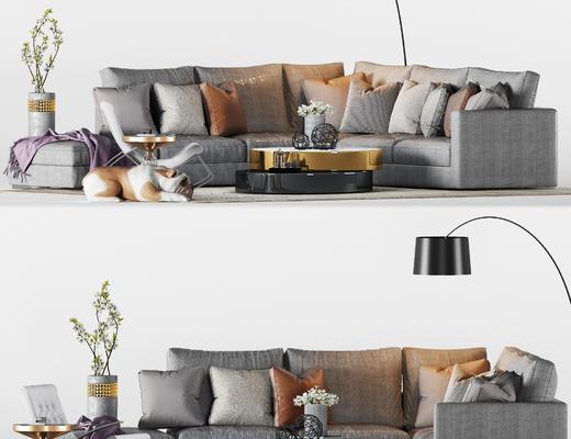 现代, 转角沙发, 茶几, 休闲椅, 摆件