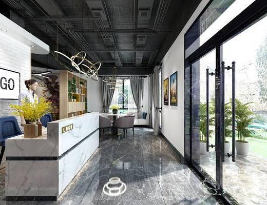 前台, 接待区, 吊灯, 植物