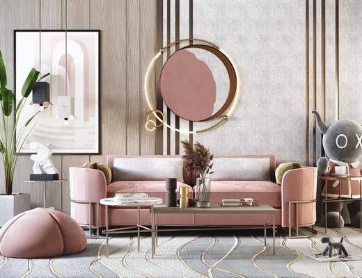 沙发组合, 墙饰, 茶几, 单椅, 装饰品, 装饰画, 植物