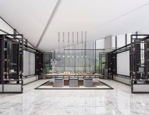 茶室, 茶桌, 凳子, 吊灯, 装饰品, 陈设品, 中式