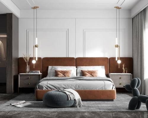 双人床, 吊灯, 床头柜, 地毯, 衣柜