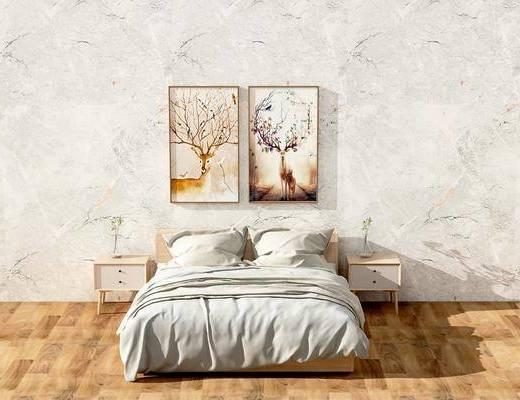 床具组合, 双人沙发, 床头柜, 装饰画, 动物画, 北欧