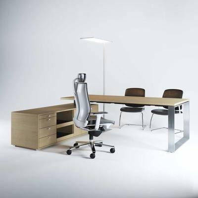 办公桌, 办公椅, 落地灯, 现代