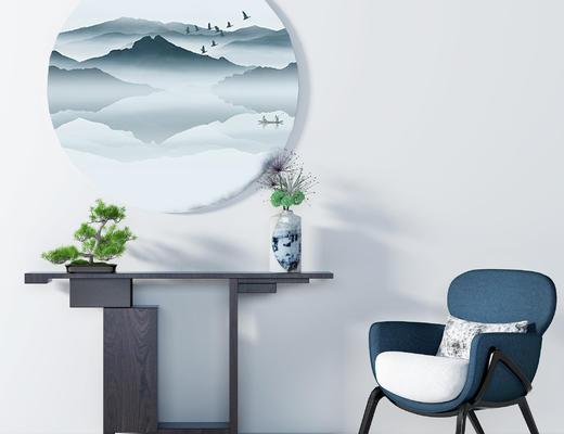 新中式端景台, 边柜, 展示柜, 单椅, 桌花, 盆栽