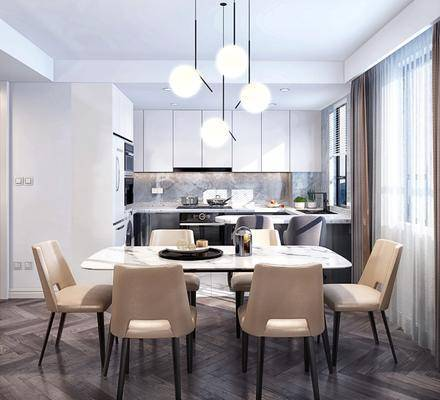 餐廳, 桌椅組合, 餐桌, 餐椅, 單人椅, 吊燈, 櫥柜, 廚具, 現代