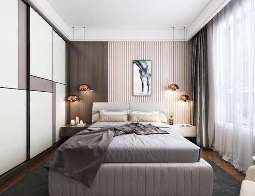 卧室, 现代卧室, 床, 休闲沙发, 单人沙发, 落地灯, 吊灯, 床头柜, 现代
