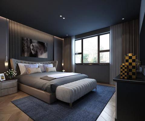 现代卧室, 现代, 卧室, 床, 床头柜, 床品