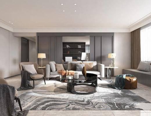 客厅, 餐厅, 家装全景, 沙发组合, 多人沙发, 单人沙发, 茶几, 脚踏沙发, 边几, 台灯, 单人椅, 餐桌, 餐椅, 餐具, 装饰品, 陈设品, 现代