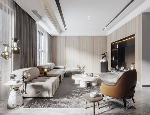 沙发组合, 茶几, 单椅, 装饰品, 电视, 地毯, 壁灯, 窗帘