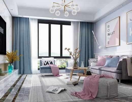 北欧, 客厅, 沙发, 沙发组合, 茶几, 吊灯, 挂画