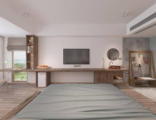 现代酒店, 现代民宿, 现代卧室, 现代客房, 床具, 吊灯, 墙饰, 植物, 落地灯, 洗手盆, 鞋架