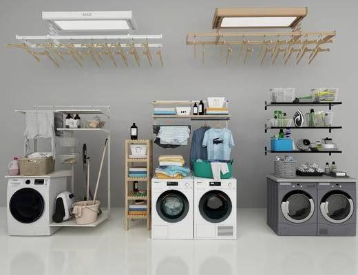 洗衣机, 衣架, 装饰架, 置物架, 毛巾, 衣服, 现代
