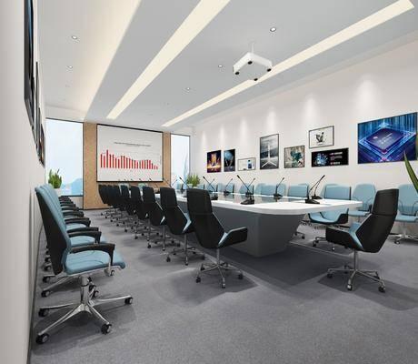 現代會議室3d模型, 會議室, 桌椅組合